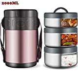 WMWJDQ Thermobehlter/Warmhaltebox,Isolier Speisegef Edelstahl Thermobehlter Fr Warme Speisen Essen Suppe,Behlter Box Fr Baby,1pcs Lunchbox Thermogef,WithBag,2L