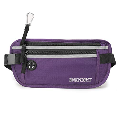 ENKNIGHT Big RFID Money Belt for Travel Running Waist Pack Fanny Pack Purple