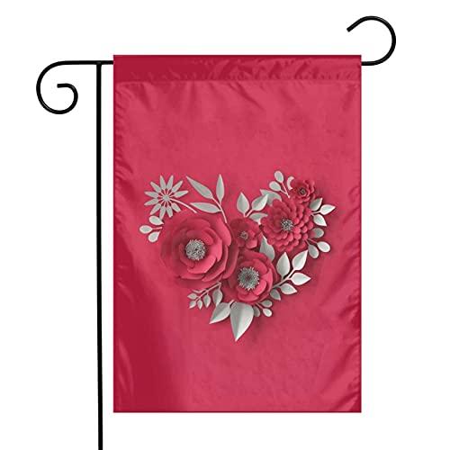DRXX Bandera de jardín de Estilo Origami de Camelia roja, pequeño Adorno Exterior de Temporada de Doble Cara Vertical para jardín, Granja, 30 * 45 cm