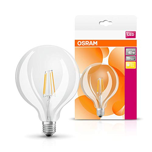 Osram LED Star Classic Globe Lampe, in Ballform mit E27-Sockel, nicht dimmbar, 4,5 W entsprechend 40 W, Filamentstil Klar, Warmweiß - 2700 Kelvin, 1er-Pack