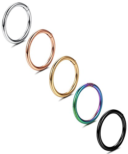 Jstyle 5 Pcs a Set 316L Stainless Steel Septum Piercing Nose Hoop Clicker Ring 16G 10mm