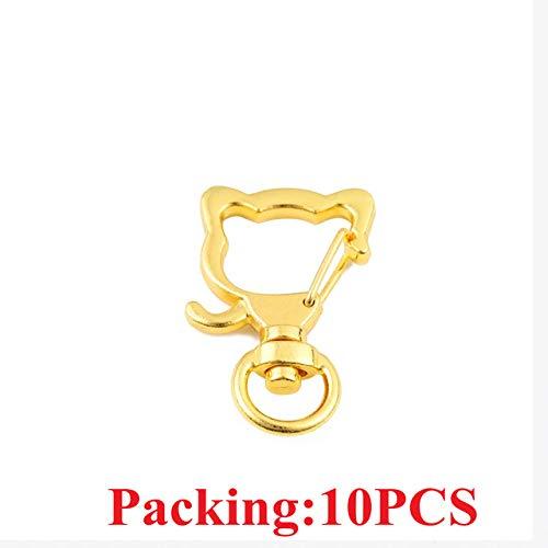 HUANGSAN 5-20 Stück/Los Schlüsselanhänger Ring Schlüsselbund Bronze Rhodium Gold 28mm Lange runde Geteilte Schlüsselringe Schlüsselbund Schmuckherstellung DIY, 10PCS Gold Katze