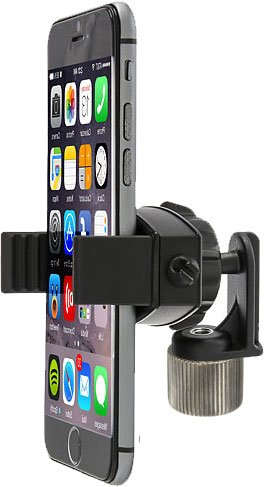 """ChargerCity 360° Swivel Smartphone Holder with 5/8"""" Tripod Microphone Stand Adapter for Apple iPhone XR XS MAX X 8 7 Plus Samsung Galaxy S9 S8 Edge Note LG V30 (Mic Stand is not Included)"""