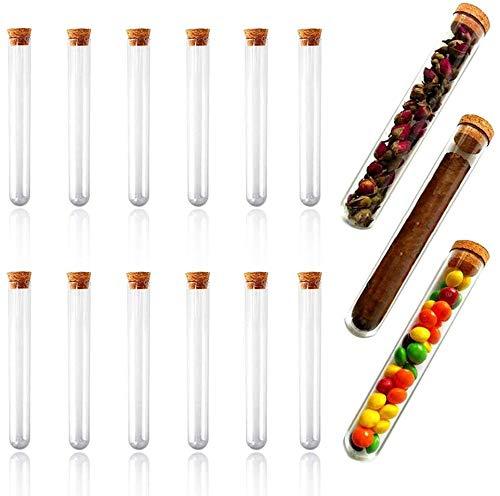 15 Stück Kunststoff Reagenzgläser, Reagenzröhrchen, Reagenzglas mit Natur-Korken für Perlen, Süßigkeiten, Mandeln, Proben, Kies, Blumen, Tee, Schokoladenbohnen 150 × 20mm, 30ml
