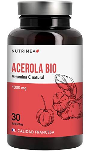 Vitamina C 1000 mg, Acerola Orgánica Natural, Resfriados Gripes Refuerza Defensas, Antioxidante, Reduce Fatiga, Forma Colágeno, Para Veganos, Sin Gluten, Sin Lactosa, Sin Alérgenos, Fabricado Francia