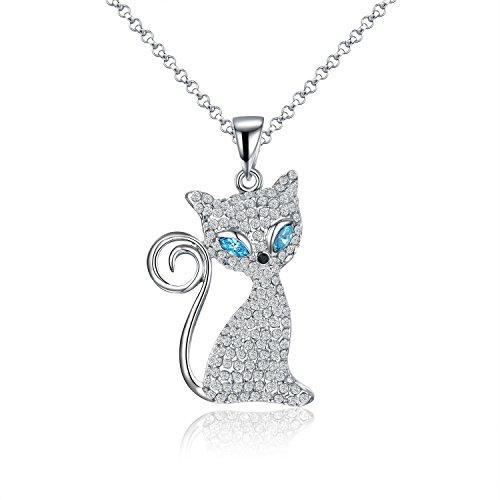 VIKI LYNN con cristalli Serie Mlle Kitty gatto Molly adorabile 'Le gatto con gli occhi magici' Collana Donne Ragazze Gioielli Fantasia Piano Cottura oro bianco regalo ideale per tutto l' occasione, Fede, colore: blu, cod. JPFN002517