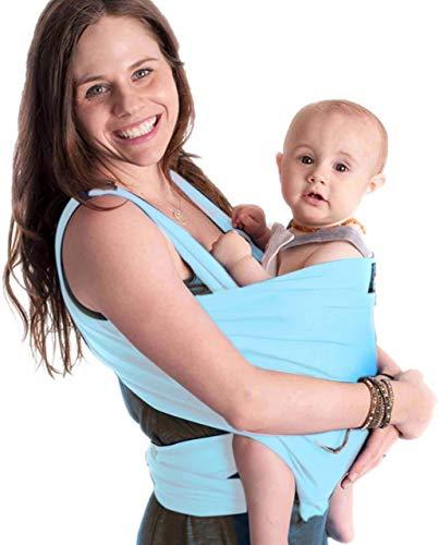 CuddleBug 9-in-1 Tragetuch Baby Erstausstattung + Tragetuch Baby – Babytrage Neugeborene & Kleinkinder bis 16 Kg - Hände frei Baby Tragesystem- Ideal für Babyparties - Einheitsgröße - Hellblau