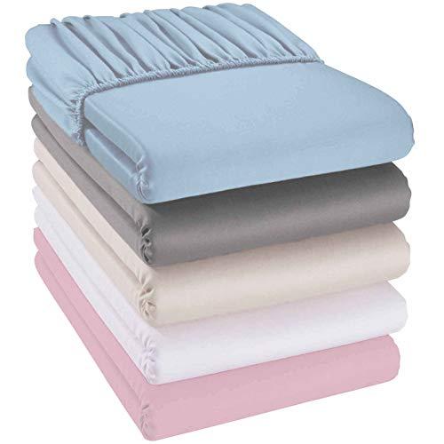 Doppelpack Kinder-Spannbettlaken 40x90 cm weiß aus 100{a2c4a1d63c14a068a92cd112426ea8c1a38bfb8c2ce69670924f5883fc8d7586} Bio-Baumwolle. Atmungsaktiv, pflegeleicht, kuschelig weich. GOTS zertifiziert.