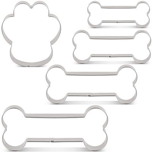 KENIAO Hundeknochen/Hundekekse Ausstechformen für Hausgemachte Hunde Leckerlies Keksausstecher Set - 5 Stück - 4 Verschiedene Größen - 13 cm, 10,5 cm, 9 cm, 7,5 cm und Hund Pfote - Edelstahl