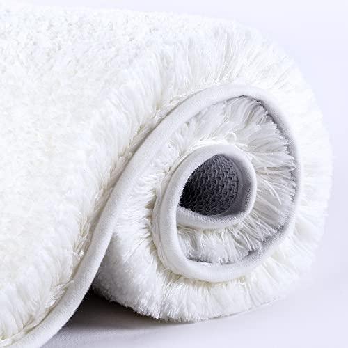 VANZAVANZU Alfombra de Baño Antideslizante Alfombrilla de Baño Espesa Absorbente Alfombra de Ducha Ultra Suave Alfombrillas para Baño Mullido Microfibra, Lavable a Máquina - 40 x 60cm (Blanco)