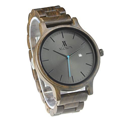 XLORDX Herren Holz Uhr Armbanduhr Analoges Japanisches Quarzwerk mit Sandelholz und Kalender