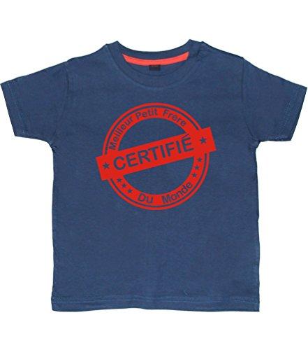 7-8 Ans Tee Shirt Marine 'Certifié Petit Frère du Monde' with Red Print