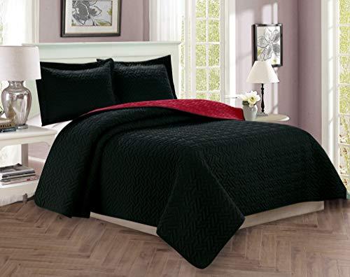 Elegant Comfort Luxus-Tagesdecke, 3-teiliges Set, gesteppt, mit Kissenbezügen, für alle Jahreszeiten, schwer, hypoallergen, Knitter- & lichtwiderstandsfähig, Schwarz/Burg&errot