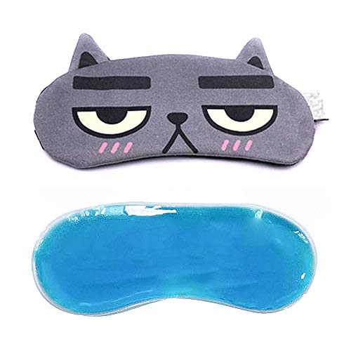 Winmoom Cat&Dog Cute Sleep Eye Mask with Gel pad, Hot & Cold Therapy for Insomnia Puffy Eyes, Super Soft and Light, for Sleeping, Shift Work,Blindfold Eyeshade for Men and Women Kid