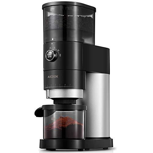 Kaffeemühle Elektrisch | AICOOK Elektrische Kaffeemühle mit Kegelmahlwerk in Edelstahl | verstellbare Kaffeemühle mit 36 präzisen Mahleinstellungen | 240g Kaffeebohnen | 150W | Schwarz matt