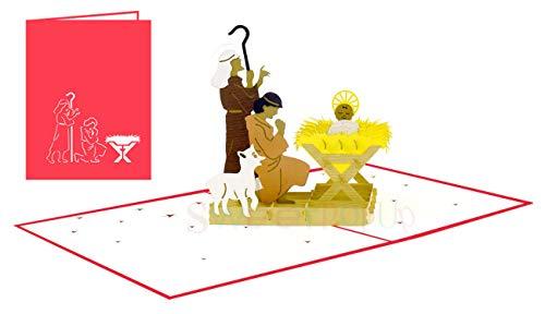 Biglietto Tridimensionale Pop-Up Di Natale, Per Nascita Di Natale, Presepe E Natale