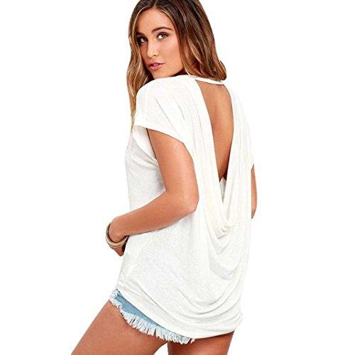 Kolylong® Frau Rückenfrei Polyester Tops T-Shirt (XS, Weiß)