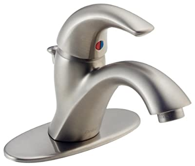 Delta Faucet Classic Centerset Bathroom Faucet Brushed Nickel, Bathroom Sink Faucet, Drain Assembly, Stainless 583LF-SSWF