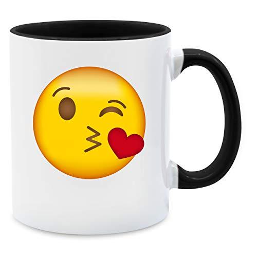Statement Tasse - Emoticon Kuss-Mund - Unisize - Schwarz - kack Tasse - Q9061 - Tasse für Kaffee oder Tee