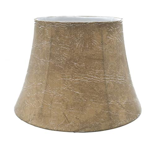 Upgradelights Tan 12 Inch Leatherette Bell Lamp Shade with Uno Fitter (8x12x8.5)