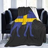 shenguang - Manta de Lana de Franela, Bandera Sueca y Alce, cálida y acogedora, Todas Las Estaciones, para sofá Cama, sofá de 60 'x 50'