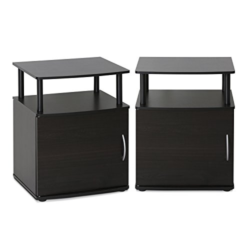 FURINNO End Table, Two, Black Wood