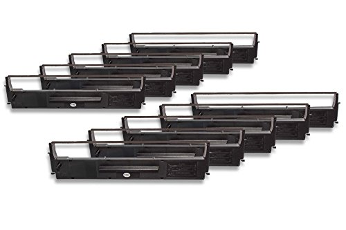 vhbw 10x Cinta de tinta de nailon para su impresora matricial Epson LQ550, LQ560, LQ570, LQ570+, LQ580, LQ800, LQ850 como C13S015637, C13S015021