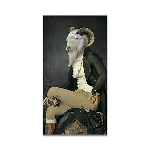 SDFSD Leinwand Malerei Retro Nostalgie Gentleman Ölgemälde Wandkunst Ram Tier Poster Drucke für Wohnzimmer Home Decor 50 * 100cm