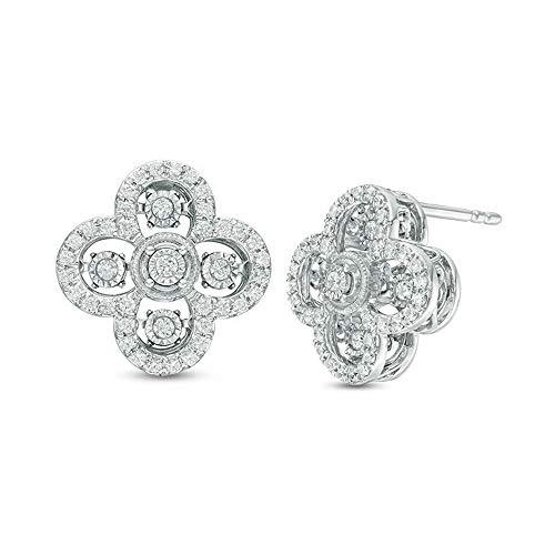 Pendientes de tuerca de trébol de diamantes de imitación de corte redondo de 1/2 quilates para mujer en plata de ley 925 chapada en oro blanco de 10 quilates