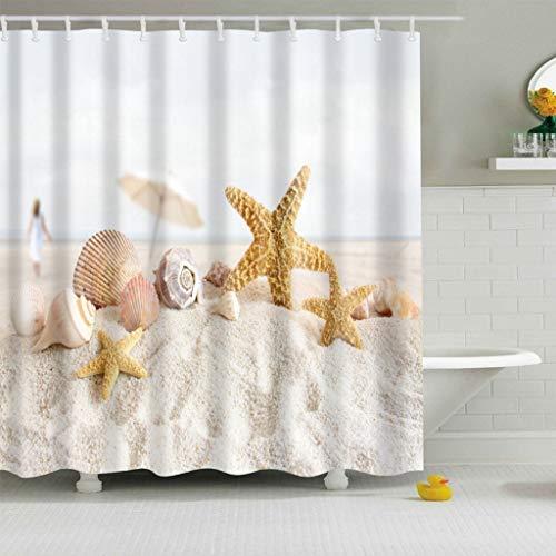 X-Labor Bunt Baum Duschvorhang Anti-Schimmel Wasserdicht Polyester Textil Stoff Badewannevorhang Shower Curtain 180 * 200cm (BxH), Seestern