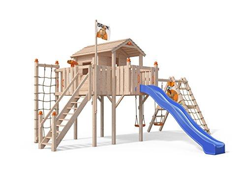 Oskar Terrizio XL-Spielturm Baumhaus mit erweitertem Schaukelanbau und Sicherheitstreppe, Rutsche, Doppelschaukel, Kletternetz und Spielhaus auf 1,50 Meter Podesthöhe (Blau)