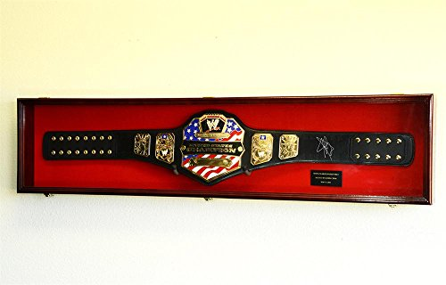 WWE WWF WRESTLING CHAMPIONSHIP ADULT SIZE BELT DISPLAY CASE FRAME CABINET BOX 54' (Cherry Finish, Red Background)
