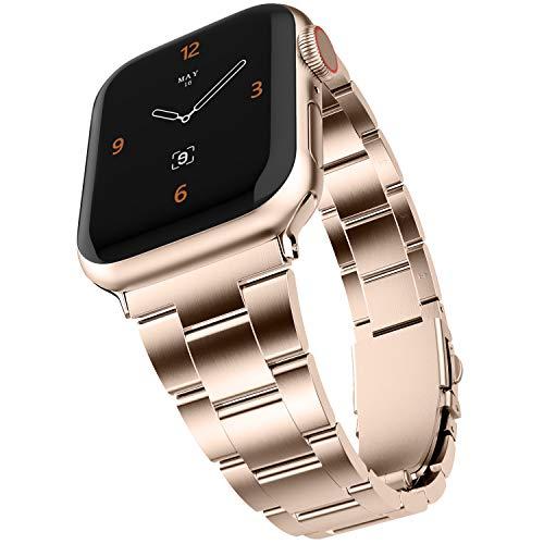Adepoy für Apple Watch Armband, Verbesserte Edelstahl Metall Ersatz Armband Kein Werkzeug Erforderlich für iWatch 44mm 38mm 42mm 40mm Apple Watch 5 4 3 2 1 (Rose Gold, 38/40mm)
