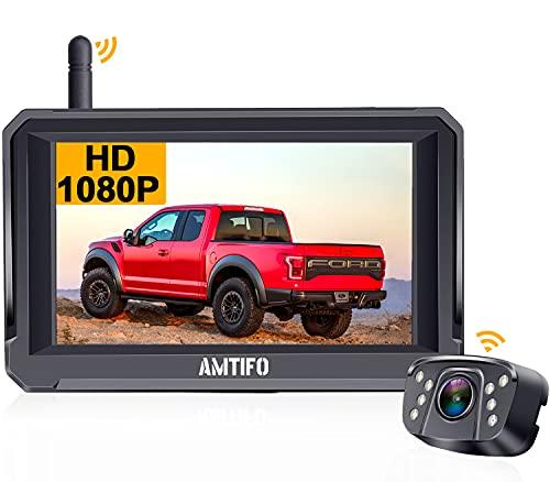 Rückfahrkamera Funk mit 5'' HD 1080P Monitor unterstützt 2 rückfahrkamera kabellos Digitalsignal,IP69 Wasserdichter Kamera, Super Nachtsicht,DIY-Leitlinien AMTIFO - A6