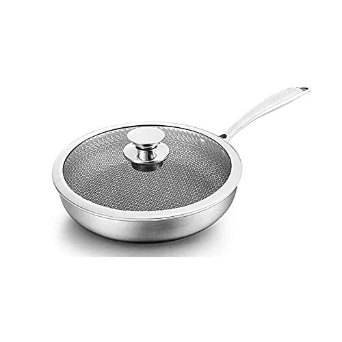 LPXPLP Sartén de 28 cm para el hogar Sartén para panqueques Sartén Antiadherente Cocina de inducción Wok de Boton Plano para el hogar Estufa de Gas Cocina Universal Antiadherente