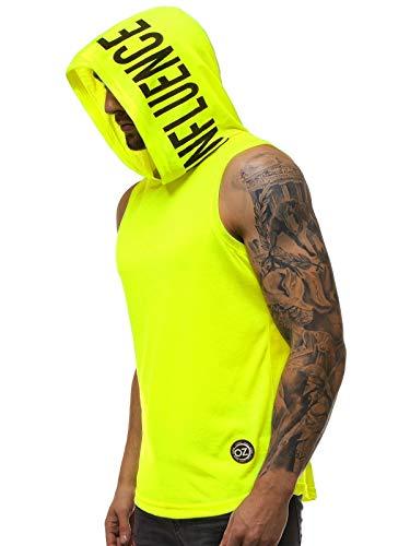 OZONEE Herren Tank Top Tanktop Kapuze Tankshirt Ärmellos Bodybuilding Shirt Unterhemd T-Shirt Tshirt Tee Muskelshirt Achselshirt Trägershirt Ärmellose Training 777/1832BO GELB-NEON M