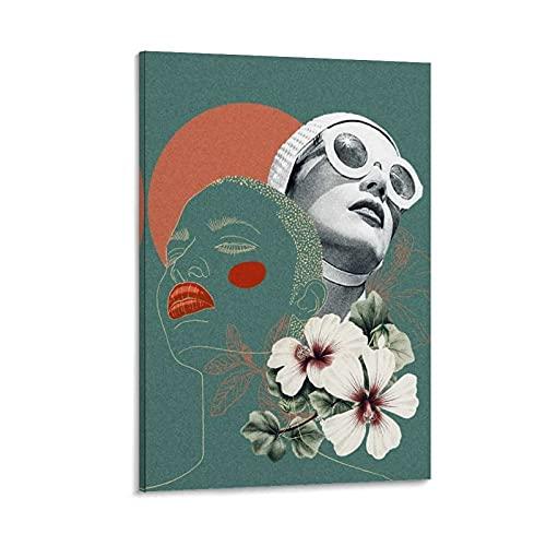 gbnh BW.R Pop Art - Póster de lona para mujer con gafas de sol (50 x 75 cm)
