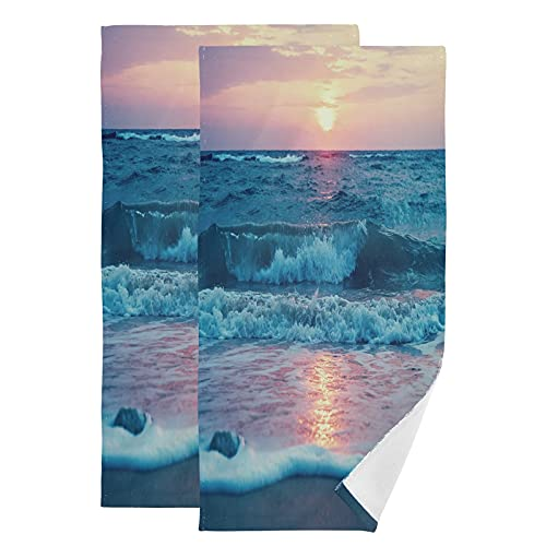 Bathroom Hand Towels Set 2 Pack Sunrise at Waimanalo Beach Oahu Hawaii Bath Hand Towels Decorative,Face Towels for Women Dish Towels Washcloths for Home Kitchen Spa Gym Swim Hotel Use 28in X 16in