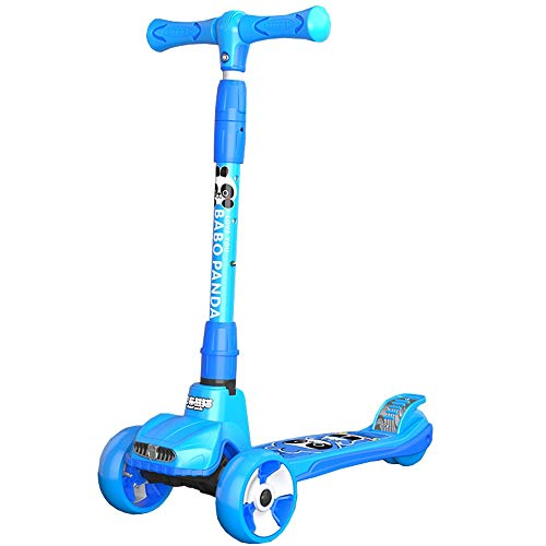 LJHBC Patinete Ruedas Flash PU Scooters para niños Altura Ajustable 65-86 cm para 2-12 años (Color : Blue)
