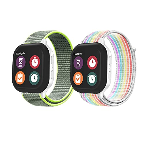 Kids Watch Bands Replacement for Gizmo Watch 1/2, Breathable Hook and Loop Nylon Watch Straps Compatible with Disney Gizmo watch Adjustable Braided Sport Elastics with Quick Release Pins (Rainbow+Yellow)