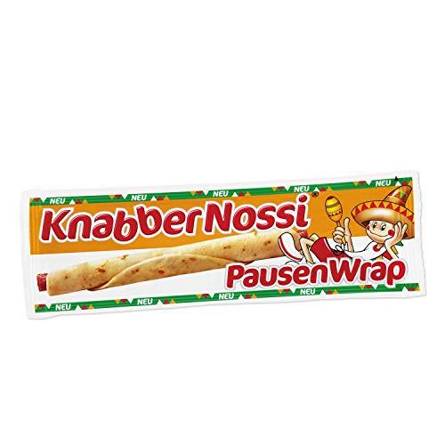 Knabber Nossi 176806 Geräuchertes Snack-Brühwurst, mit einem halben Fladenbrot umwickelt.
