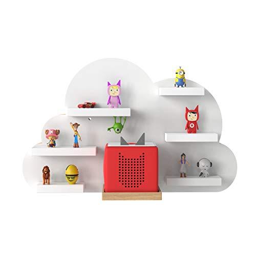 RR Rellgo Real Goods Tonie Box Holzregal mit magnetischer Beschichtung - Wandregal Kinderzimmer - im Wolken Design in Weiss