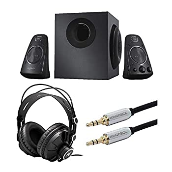 Logitech Z623 400 Watt Home Speaker System Bundle with Knox Gear Headphones and Audio Cable  3 Items