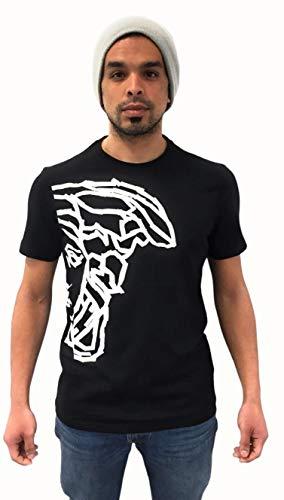 T-Shirt Uomo Girocollo in Cotone - Maniche Corte - Disponibile in Nero o Bianco con Decorazione (Nero, S)
