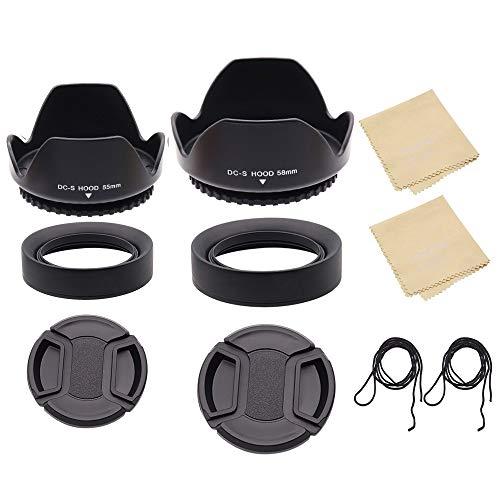 Juego de capó de lente de 55 mm + 58 mm para Nikon para lente Canon, capó de lente plegable de goma con rosca de filtro + capó de lente de flor de tulipán + tapa de lente de pellizco central