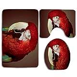 N\A Red Parrot Cute Soft Comfort Alfombrillas de baño Antideslizante Absorbente Asiento de Inodoro Funda de baño Alfombrilla Tapa 3pcs Set