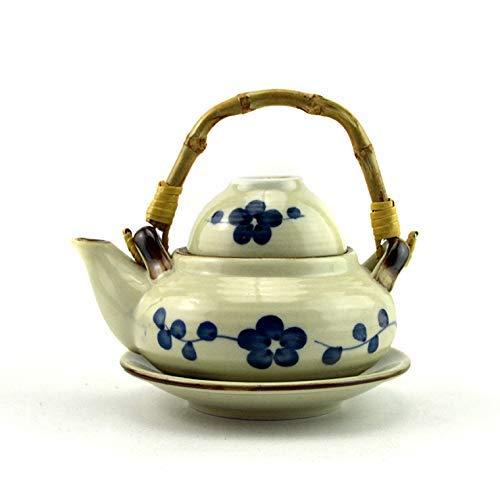 BXU-BG Cerámica Porcelana Japonesa Vajilla Cocina Mariscos Sopa Olla de loza Vaporizador Pintado a Mano Ciruela Azul Sopa Olla Cerámica Alta Temperatura 300Ml