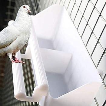AMACOAM Mangeoire Oiseaux Cage Interieur Exterieur Mangeoire à Oiseaux Abreuvoir Oiseau Cage Mangeoire pour Oiseaux en Plastique Parrot Nourriture Eau Bol pour Perroquet Pigeons Blanc 2 Pièces