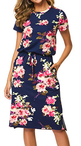 Womens Summer Floral Short Sleeve Casual Pockets Midi Dress with Belt Deepblue XL