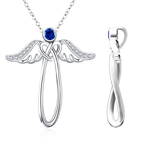 Collar de ángel con alas de ángel y nudo celta, plata de ley con circonitas azules, colgante de buena suerte, joyería para mujer